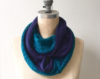 Infinity Scarf in Blue Lace and Purple Knit