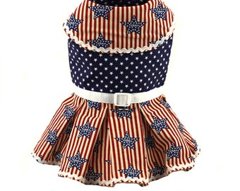 Red white and blue dog dresses, USA Stars Stripes