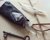 The Gatherer. Rustic Boho Unisex Festival Leather Pouch Agate Arrowhead Necklace.