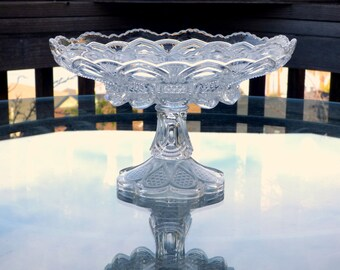 "Large 11"" EAPG Compote: US Glass 'New Jersey' aka 'Loops & Drops' 1901 States Pattern, Peacock Feather Motif, Wedding Centerpiece"