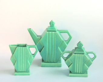 Fulper Stangl Square Modern #1081/'Deco Delight' Modernist Tea Set for 4, Fayence Silver Green 1920s Art Deco