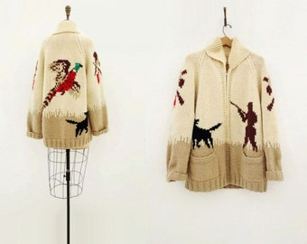 60s Cowichan Sweater Vintage Cowichan 1960s Wool Sweater White Beige Cowichan 60s Pheasant Hunt Handmade Cardigan 60s Knitted Jacket m l