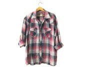 plaid flannel pearl snap WRANGLER Thin Cotton Button up shirt Gray Red Purple Work shirt oversized western shirt Mens size 3X XXXL