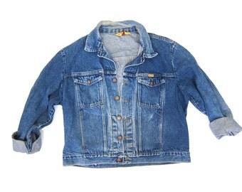80s Rustler Jean Jacket Faded Blue Denim Coat Vintage 90s Jacket Slouchy Distressed Denim Hipster Grunge Jacket DELLS Women's size XL