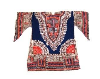 70s Dashiki Tunic Top Ethnic Indian Boho Mini Dress Ethnic India Festival Shirt Angel Sleeves Bohemian Caftan Top with Pockets Womens Small