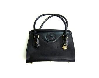 Vintage 90s DOONEY and BOURKE Black Leather Handbag Top Handle Purse Satchel Saddle Bag Designer Pebbled Small Doctor Bag Brass Charm