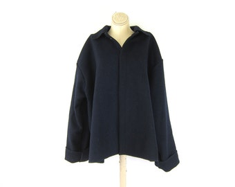 Navy Blue wool coat heavy reprocessed wool jacket National Safety Apparel NSA coat Preppy Wool Blanket Pea Coat with snaps Mens Size 2X XXL