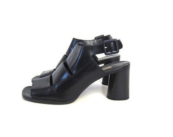 Cut Out Black Leather High Heel Pumps  Peep Toes Open Heels Buckled Shoes Sky High Sandals Chunky Modern Vintage Womens Size 8.5