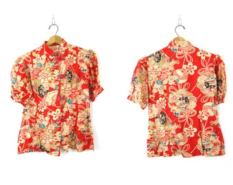 Japanese shirt Kimono style frog buttons top Red flowers floral print short sleeve top Ethnic blouse women's size Small