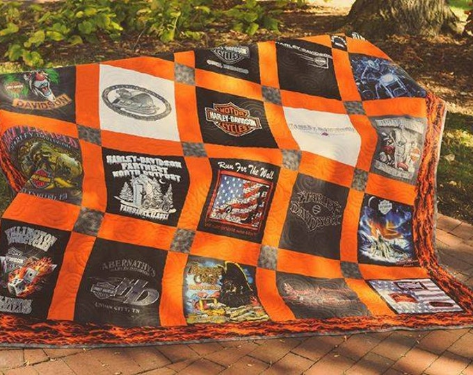 Harley Davidson themed 25 Block TShirt Quilt Custom Made Queen Size