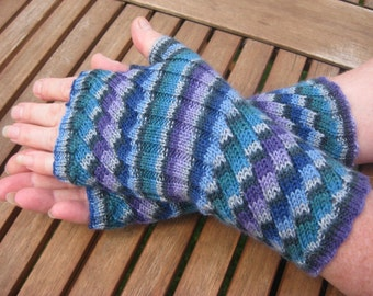 Fingerless Gloves -  Hand  Warmers -  Wrist Warmers. Colourway Delphinium.  Hand knit.