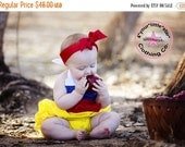 Summer Sale Spectacular Disney Inspired Snow White Halter Ruffled Romper for Infants and Toddlers size newborn to 2t - Free Shipping too!