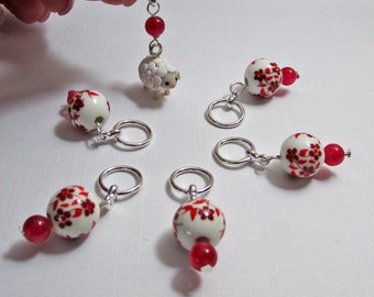 Handmade Stitch Markers - Wooly Sheep and Red Florals (set of 6/up to size 12) (SM-20)