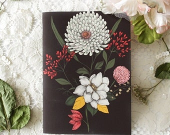 Notebook - Illustrated notebook - A6 - floral - botanical - Bouquet 02