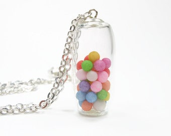 Glass Carnival Locket Necklace - Floating Shake Rainbow Multicolor Pendant - Ling Glass Layer Pendant - Tube Bubble Necklace
