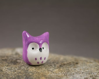 Little Purple Horned Owl - Miniature Polymer Clay Terrarium Figurine Animal - Hand Sculpted