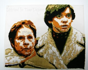 Harold and Maude Portrait, Embroidered Art, Harold and Maude Art, Needlework Art, Embroidered Portrait