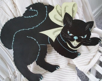 Vintage Halloween Black Cat  * Die Cut * Carrington