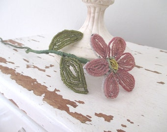 Vintage French Beaded Flower * Pink * Grey * Antique * Shabby Chic Cottage