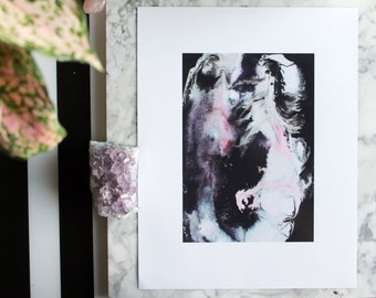 Art Print Sale: abstract art by Julie Tillman abstract watercolor painting art in pink, white black Modern home decor. art on sale