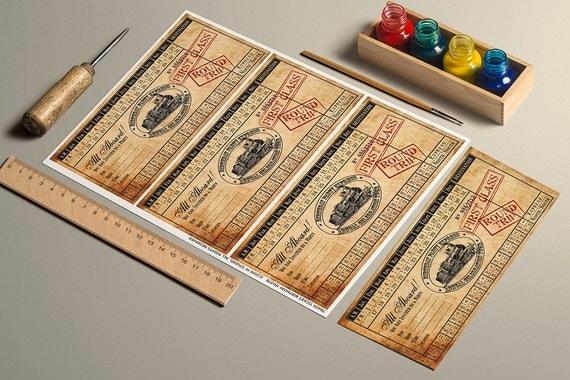 INSTANT DOWNLOAD Printable Vintage Train Ticket Birthday Invitation