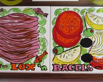 Vintage Lox n Bagels Serving Tray Tile and Wood