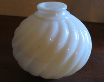 Milk glass lamp part - globe with holes top and bottom