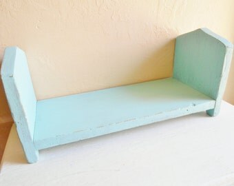 Shabby Chic Rustic Turquoise Blue Wood Desk Book Shelf Media Rack