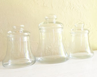 Trio of Clear Glass Bell Jars with Lids - Excellent Condition
