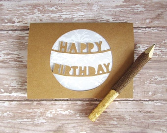 Rustic Birthday Card - Happy Birthday Card - Birthday Card for Her - Pretty Cards - Rustic Lace - Papercut Birthday Card - Birthday Card Mom