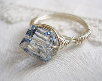 Light Winter Blue Swarovski Crystal and Sterling Silver Wire Ring