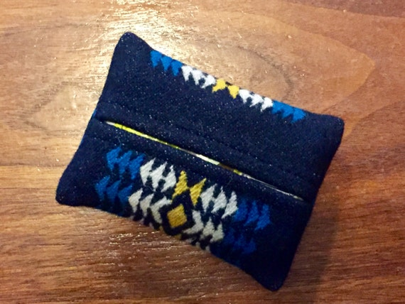 Tissue Case / Kleenex Case Wool Turquoise Southwestern Tribal Handcrafted Using Fabric from Pendleton Woolen Mills