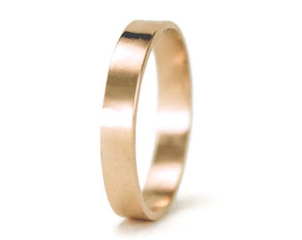 14k Rose Gold Wedding Ring - Classic 4mm by 1.5 mm Flat Wedding Band - Hammered or Smooth