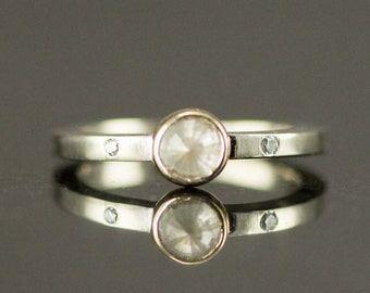 Round Rose Cut Diamond Ring - Natural Raw Diamond Engagement Ring
