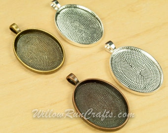 30 pcs 22 x 30mm Oval Pendant Trays, choose from Silver, Antique Silver, Antique Copper and Antique Bronze, Blank Bezel Cabochon Setting