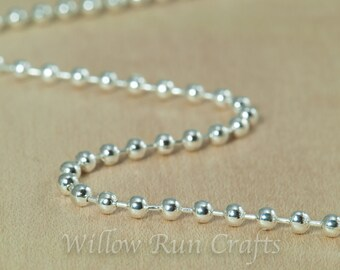 50 High Quality Shiny Silver Plated Metal Ball Chain 2.4mm with Connectors 24 inch Chain (15-40-262)