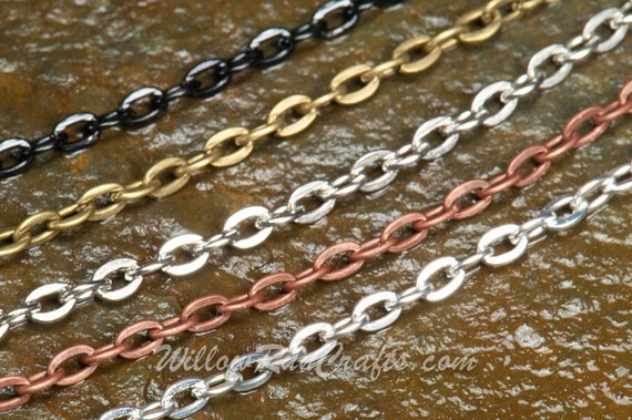 """35 Metal Necklace Oval Chain Cross Link 24"""" in Silver, Antique Copper, Antique Silver, Black and Antique Bronze"""