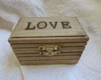 Rustic Boho Bohemian Wedding Ring BOx Gift Box Trinket Box Wedding Decor Stained box Wood burned Personalized
