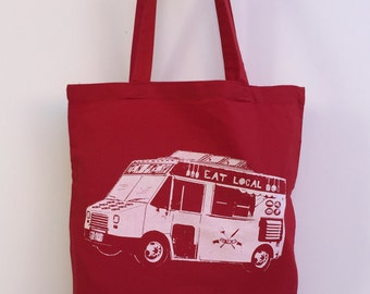 Eat Local FOOD TRUCK Eco-Friendly Market Tote Bag - Hand Screen printed (Ships FREE!)