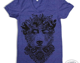 Womens FRIDA BEAR american apparel T Shirt S M L XL (16 Colors Available)