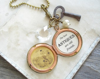 Old Friends Quote Locket. Friendship Locket Necklace. Secret Message Locket. Mixed Media Assemblage Necklace. Rustic Vintage Upcycled Gift.