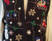 Ugly CHRISTMAS Sweater pArty set // BEADED Bling Vest // Medium to L
