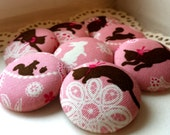 LIMITED SETS - Extra-large Buttons - Lace Design with Cats, Squirrels, and Rabbit - Animal Fabric Covered Buttons - Lacy Animal Silhouettes