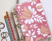 Planner Cover, 6 x 9 Journal Binder, Kalocsai, Rose Pink and Grey