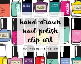 New! Nail Polish Hand Drawn Clip Art (Instant Download)