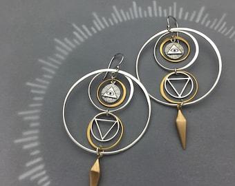 Masonic All Seeing Eye Occult Hoops