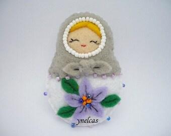 Felt ornament Matryoshka  Gray white  hand embroidery russian babushka  with beads