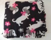 Small Fleece Blanket -- Dachshund Valentine Theme