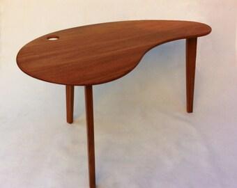 Mid Century Modern Solid Hardwood Desk - Kidney Bean Shaped - Atomic Era Biomorphic Boomerang Design In Solid Mahogany
