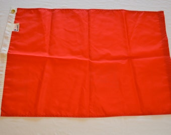 Vintage RED FLAG plain blank made in USA nylon